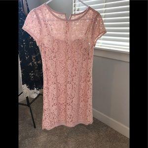 Pink shift lace dress